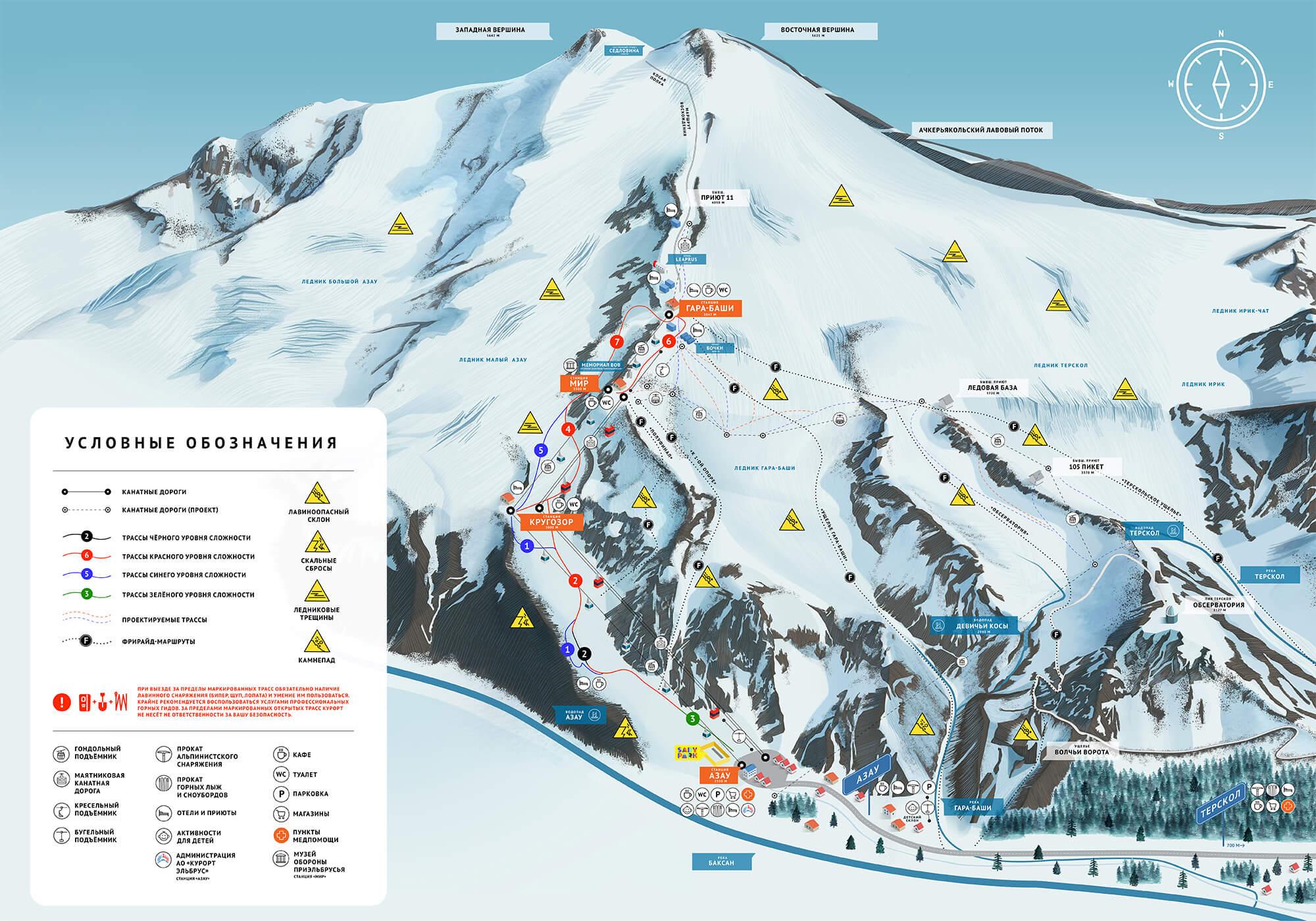 карта эльбрус горнолыжный курорт